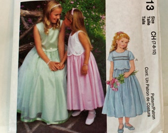 McCall's 3113, Sewing Pattern, Girl's Special Moment/Occassions,  Dress, Size 7, 8 and 10, UNCUT