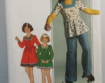 Vintage 1970s, Sewing Pattern, Simplicity 7634, Girls' Dress or Top and Pants, Girl's Size 12