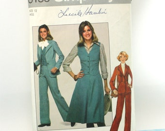 "Vintage 1970s, Sewing Pattern, Simplicity 8155, Misses' Size 12  Pants, Skirt, Unlined Blazer and Vest,  Bust 34"", International Shipping"
