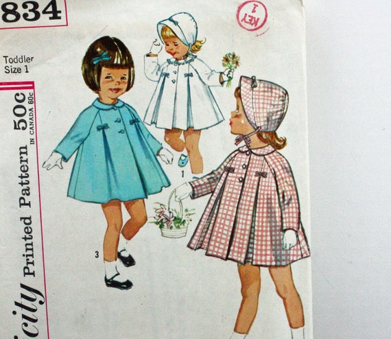 Vintage 1960s, Sewing Pattern, Simplicity 4834,  Toddlers Size 1, Coat and Hat, International Shipping