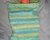 """Baby Cocoon and I-Cord Hat - Peaches & Creme Cotton """"Seaside Stripes"""""""