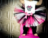 Damask Minnie Mouse Tutu Set ----Infant- 4/5--- Great for Birthdays, or Photography