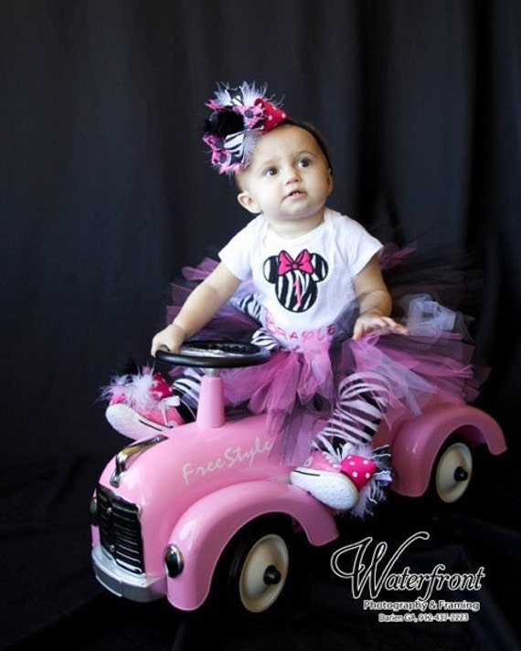 Zebra Minnie Mouse Tutu Set Infant- 4/5--- Great for Birthdays, or Photography