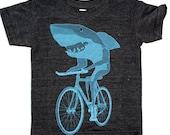 Kids Shark on a Bike Shirt - American Apparel Toddler Tri-Blend T-Shirt - Sizes 2, 4, 6, 8, 10, 12