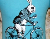 Alice in Wonderland's White Rabbit on a Bike - American Apparel Aqua TShirt - Available in XS, S, M, L and XL - FREE SHIPPING