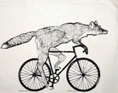 Fox on a Bike Tote - Natural Cotton Bag