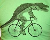 Gator on a Bike T Shirt - Grass Green Bike Shirt American Apparel - Size XS, S, M, L, XL, and XXL