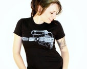 Steampunk Blaster Raygun Print on Black Ladies American Apparel TShirt - Free Shipping - Available in Small, Medium, Large and Extra Large