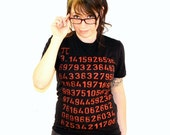 Pi Math Geek Ladies T-Shirt - American Apparel - Black Shirt - Available in S, M, L and XL