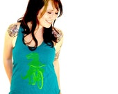 Dinosaur on a Bicycle Racerback Tank Top - American Apparel Tri Blend Evergreen Heather - Available in XS, S, M, and L