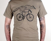 Fox on a Bike Shirt - Tan TShirt - Free Shipping - Available in S, M, L, XL