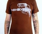 Steampunk Blaster Raygun Print on Brown American Apparel TShirt