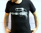 Raygun Steampunk Blaster Print on Black American Apparel TShirt - Free Shipping - Available in XS, S, M, L, XL and XXL