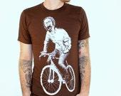 Zombie T SHIRT - Zombie on a Bike American Apparel Shirt - Brown tee - xs, s, m, l, xl, and xxl