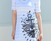 Hope Amidst Affliction - Anchor American Apparel TShirt Dress- Gray and White Stripe  - Available in XS, S, M, L, and XL