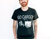 MENS BICYCLE Custom Shirt Colors Cargo BIKE Art Shirt Black Tee Unisex American Apparel T-shirt