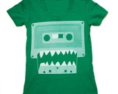 Womens Cassette Monster (mixtape) american apparel tee t shirt S M L XL (Kelly Green)