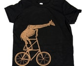 Kids BICYCLE T SHIRT - Giraffe on a Two High Bike - American Apparel Unisex Black Short Sleeve T Shirt - Sizes 2, 4, 6, 8, 10 and 12