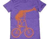 Ladies - Giraffe on a Two High Bike- T Shirt AMERICAN APPAREL S M L XL (Purple)