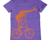 Womens GIRAFFE BICYCLE american apparel tee t shirt S M L XL (Purple)