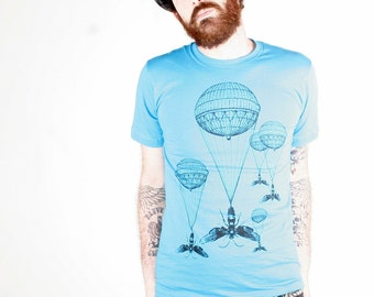 Steampunk Hot Air Balloon Insect Teal T-Shirt - American Apparel Aqua - Complimentary Shipping - Available in XS, S, M, L, Xl and Xxl