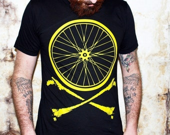 Mens Bicycle Wheel and Crossbones T-Shirt - American Apparel- - Available in xs, s, m, l, xl and xxl