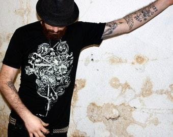 Men's STEAMPUNK BICYCLE T Shirt american apparel X S S M L Xl and X X L