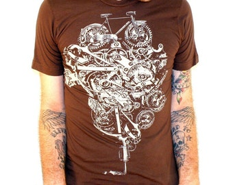 fox on a bike bicycle shirt american apparel by
