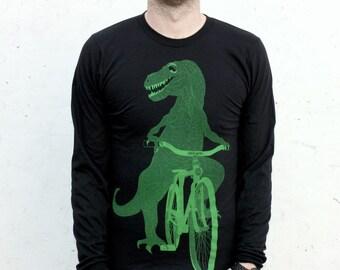 Dino bike screenprint black American Apparel shirt LONG SLEEVED Tshirt