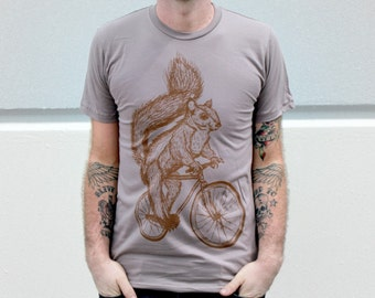 Squirrel on a Bicycle- Cinder Tan American Apparel ORGANIC Cotton Shirt  - T-Shirt Available in s, m, l, xl and xxl