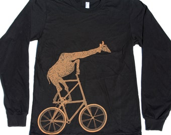 Giraffe on a Two High Bike Tshirt Print - American Apparel Long Sleeve Shirt  - comp shipping - Available in xs, s, m, l, xl and xxl