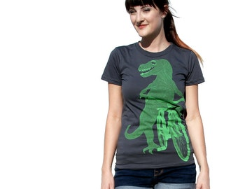 Dinosaur on a Bicycle- Womens T Shirt, Ladies Tee, Cotton Tee, Handmade graphic tee, sizes s-xL