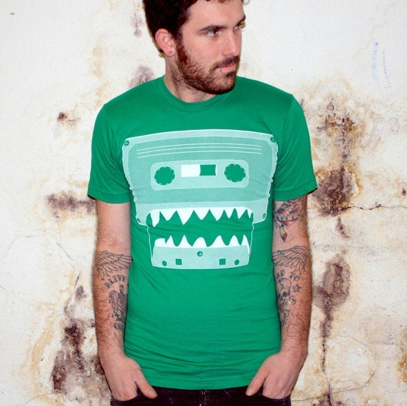 Cassette Tape Monster - American Apparel TShirt - FREE SHIPPING - Kelly Green - Available in XS, S, M, L, and XL