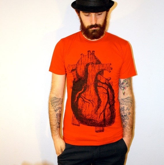 Anatomically Correct Heart Illustration TShirt - American Apparel - Red - Available in XS, S, M, L and XL - FREE SHIPPING