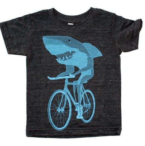Shark On A Bicycle Kids T Shirt Children Tee Tri Blend