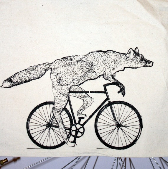 Fox on a Bike Tote - Natural Cotton Bag