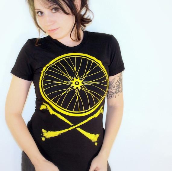 Women's BIKE WHEEL CROSSBONES T Shirt american apparel s m l xl (Black)