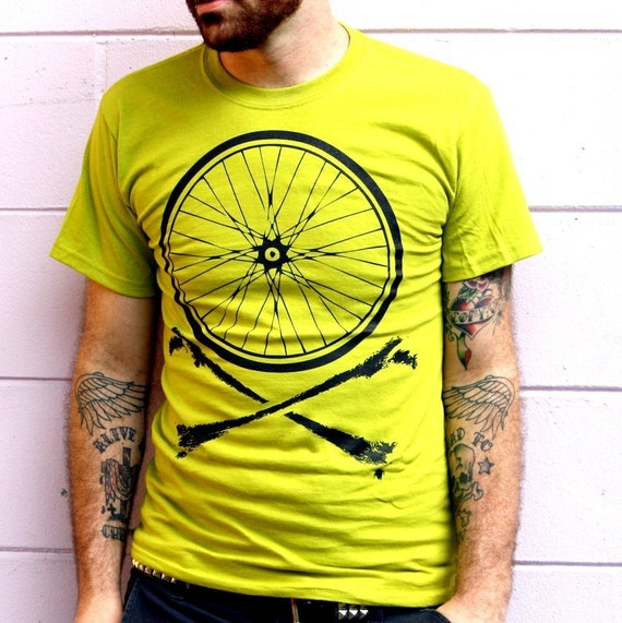 Bike Wheel and Crossbones T-Shirt - Chartreuse Shirt with Black Bicycle Print TShirt - Available in XS, S, M, L, XL and XXL