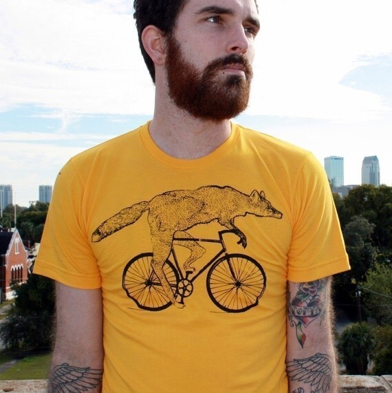 fox on a bike heather gold unisex shirt by darkcycleclothing