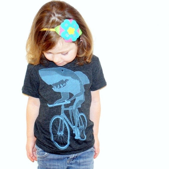 Shark on a Bike - American Apparel Toddler Tri-Blend T-Shirt - Available in 2T, 4T and 6T