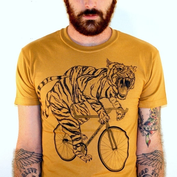 Tiger on a Bike T Shirt - Camel Bike Shirt- Size S, M, L, XL, and XXL