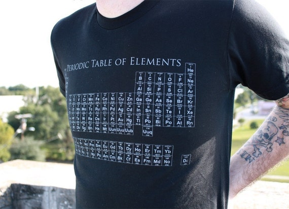 Unisex Mens PERIODIC TABLE  american apparel t shirt  xs S M L XL xxl (black shirt)
