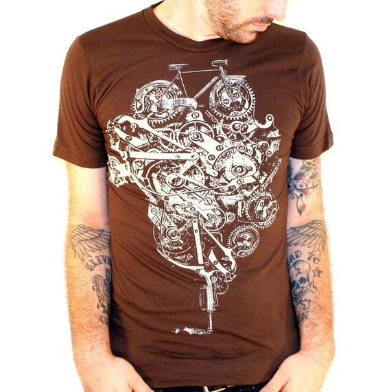 Steampunk Bike Machine - American Apparel Brown TShirt - Available in xs, s, m, l, xl and xxl