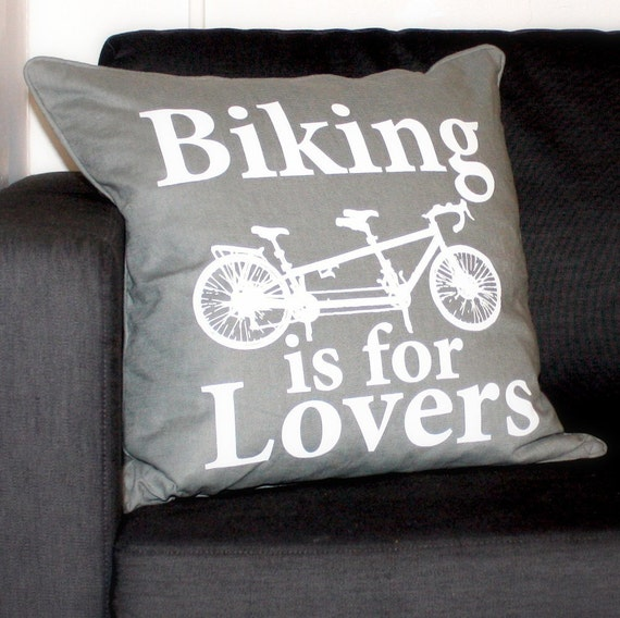 Biking is for Lovers - Gray Linen Screen Printed Throw Pillow Case - Grey Bicycle Loveliness