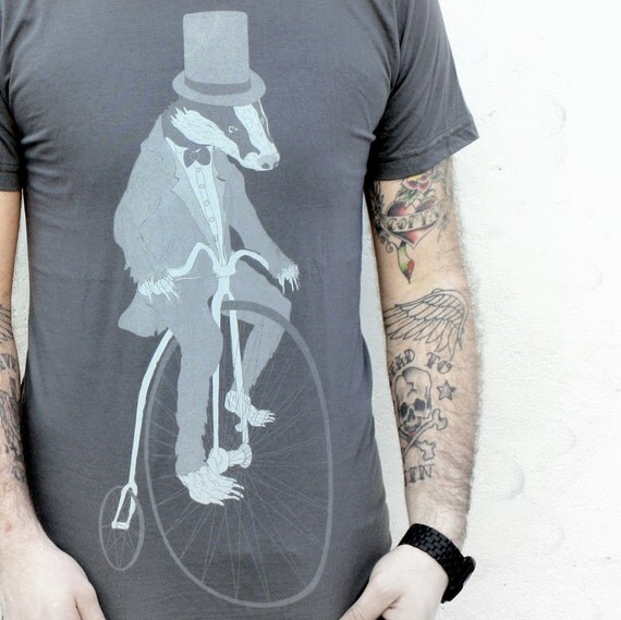Badger on a Pennyfarthing Bicycle - American Apparel Asphalt Gray TShirt - Available in XS, S, M, L and XL