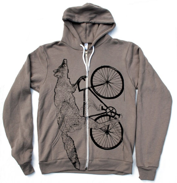 Unisex Urban FOX Hoody american apparel xs s m l xl and xxl (Pewter) Flex Fleece