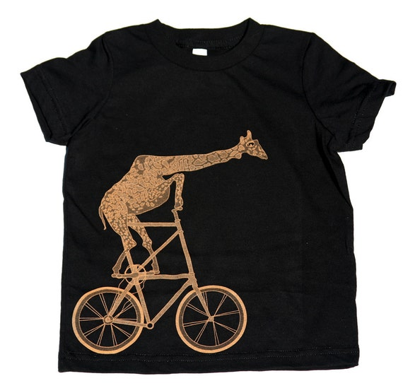 Kids Giraffe BICYCLE T SHIRT - Giraffe on a Two High Bike - American Apparel Toddler Kids