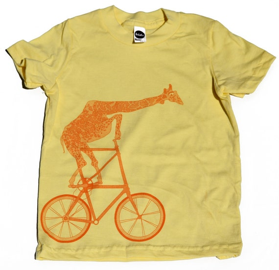 Kids BICYCLE T SHIRT - Giraffe on a Two High Bike - American Apparel Unisex Lemon Yellow Short Sleeve T Shirt - Sizes 2, 4, 6, 8, 10 and 12