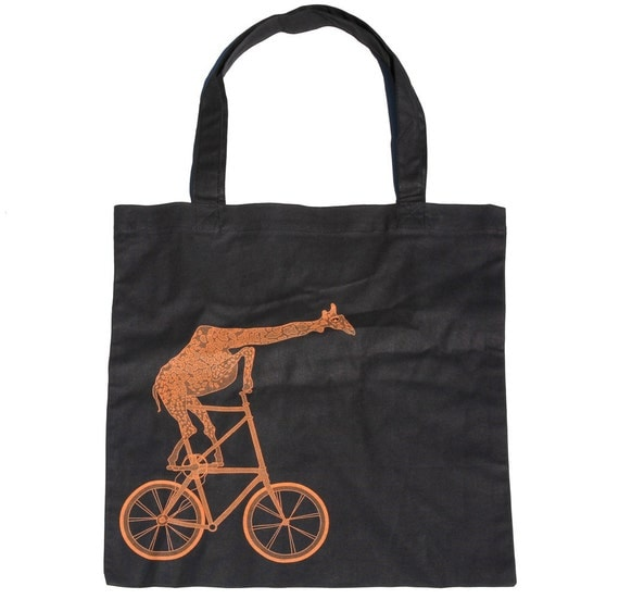 Giraffe on a BICYCLE Screen Printed Tote Book Bag