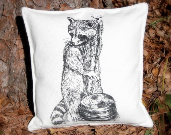 Woodland RACCOON musician Throw Pillow - 20x20 White & Black - Down Insert Included